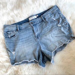 Torrid light blue cut off distressed denim shorts